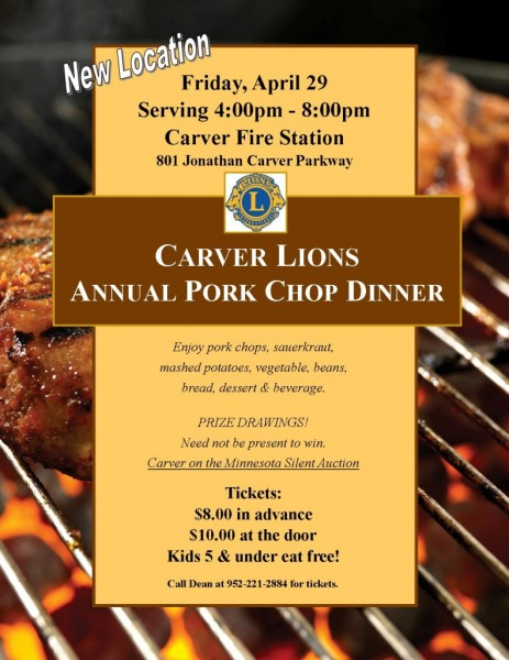 Carver Lions Pork Chop Dinner & Carver-on-the-Minnesota, Inc. Fundraiser